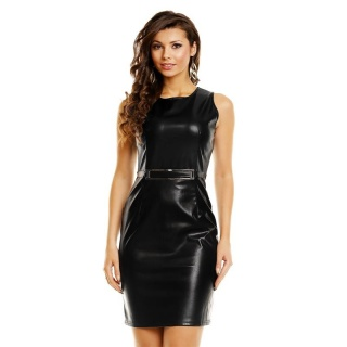 SEXY MINIDRESS MADE OF SOFT IMITATION LEATHER WITH BUCKLE BLACK