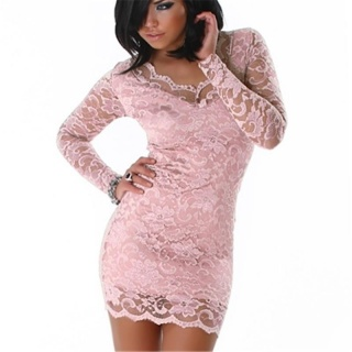 SEXY MINIDRESS DRESS MADE OF LACE PINK