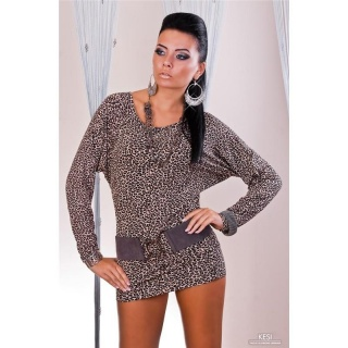 SEXY MINI DRESS WITH LONG SLEEVES LEO-BROWN