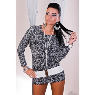 SEXY MINIDRESS WITH LONG SLEEVES LEO-GREY