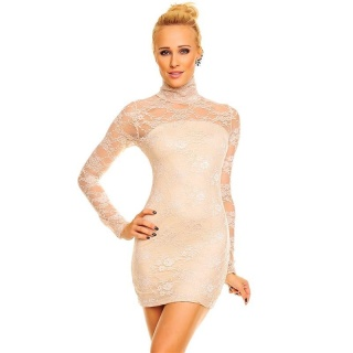 SEXY MINIDRESS LONGSHIRT MADE OF LACE WITH STAND-UP COLLAR BEIGE