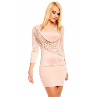SEXY MINIDRESS WITH COWL-NECK BEIGE
