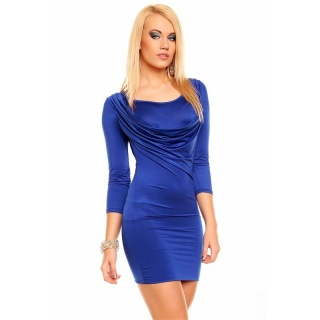 SEXY MINI DRESS WITH COWL-NECK ROYAL BLUE