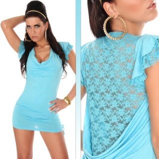 SEXY MINIDRESS WITH PRECIOUS LACE TURQUOISE