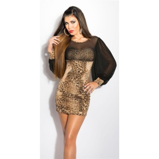 SEXY MINIDRESS WITH BATWING SLEEVES AND CHIFFON LEOPARD/BLACK