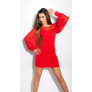 SEXY MINIDRESS WITH BATWING SLEEVES AND CHIFFON RED