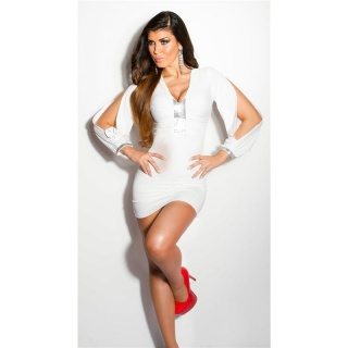 SEXY GLAMOUR MINIDRESS WITH OPEN SLEEVES CREAM