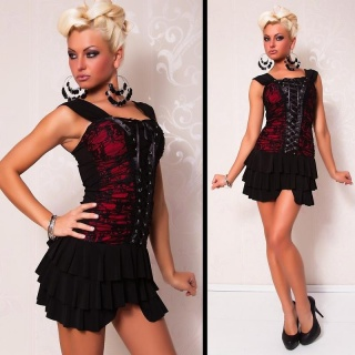 SEXY MINIDRESS WITH LACE LACING BLACK/RED
