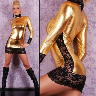 SEXY MINIDRESS WITH LACE WET LOOK GOGO CLUBWEAR GOLD/BLACK