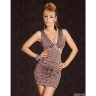 SEXY MINI DRESS WITH RHINESTONE-BROOCH CLUBWEAR CAPPUCCINO