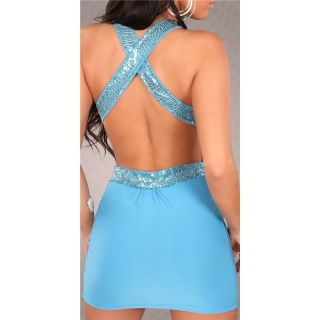 SEXY MINIDRESS PARTY DRESS WITH SEQUINS CLUBWEAR TURQUOISE