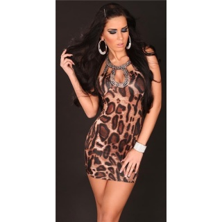 SEXY MINI DRESS PARTY DRESS WITH SEQUINS LEO-BROWN
