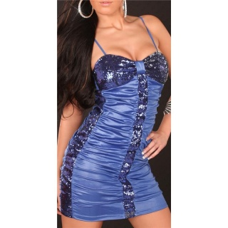 SEXY MINIDRESS PARTY DRESS WITH SEQUINS WET LOOK BLUE