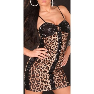 SEXY MINIDRESS PARTY DRESS WITH SEQUINS WET LOOK LEO/BLACK