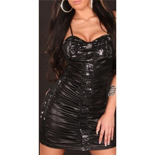 SEXY MINIDRESS PARTY DRESS WITH SEQUINS WET LOOK BLACK