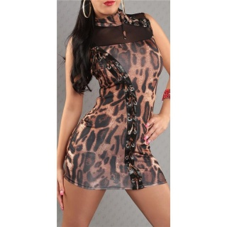 SEXY MINIDRESS PARTY DRESS WITH LACING LEO-LOOK BROWN/BLACK