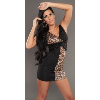 SEXY MINI DRESS PARTY DRESS WITH LACE RHINESTONES BLACK/LEOPARD