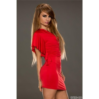 SEXY MINI DRESS PARTY DRESS WITH FLOUNCED SLEEVES RED