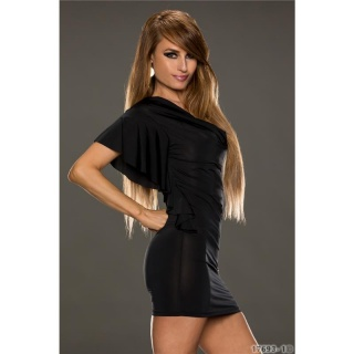 SEXY MINIDRESS PARTY DRESS WITH FLOUNCED SLEEVES BLACK