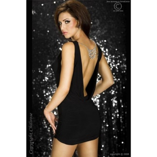 SEXY BACKLESS MINIDRESS WITH JEWELLERY CLUBWEAR BLACK