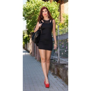 SEXY MINIDRESS STRAPPY DRESS IN 2-IN-1-LOOK WITH CHIFFON BLACK