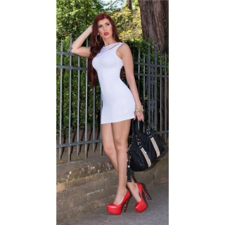 SEXY MINIDRESS STRAPPY DRESS IN 2-IN-1-LOOK WITH CHIFFON WHITE