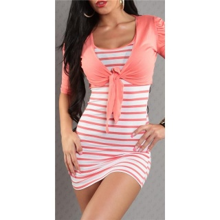SEXY STRAP DRESS MINIDRESS WITH BOLERO CORAL/WHITE