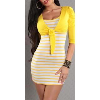 SEXY STRAP DRESS MINIDRESS WITH BOLERO YELLOW/WHITE