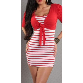 SEXY STRAP DRESS MINIDRESS WITH BOLERO RED/WHITE
