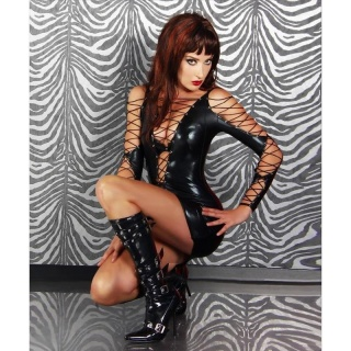 SEXY MINIDRESS WET LOOK FETISH GOGO CLUBWEAR BLACK