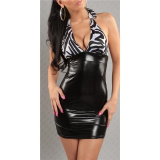 SEXY MINIKLEID WETLOOK LATEX-LOOK GOGO CLUBWEAR SCHWARZ/WEISS