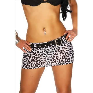 SEXY MINI SKIRT CLUBBING WITH BELT BLACK/WHITE