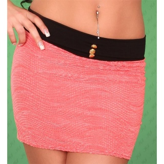 SEXY MINI SKIRT IN CR�PE-LOOK CORAL/BLACK
