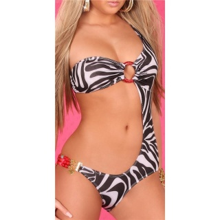 SEXY MONOKINI BEACHWEAR ZEBRA-LOOK BLACK/WHITE