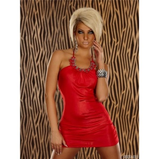 SEXY HALTERNECK MINIDRESS WITH SMALL STONES RED