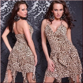 SEXY HALTERNECK EVENING DRESS WITH FLOUNCES LEOPARD