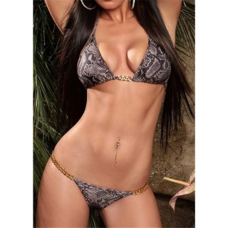 SEXY HALTERNECK BIKINI BEACHWEAR BROWN/BLACK