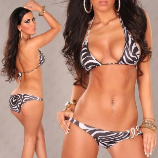 SEXY HALTERNECK BIKINI BEACHWEAR WITH RHINESTONES BLACK/WHITE
