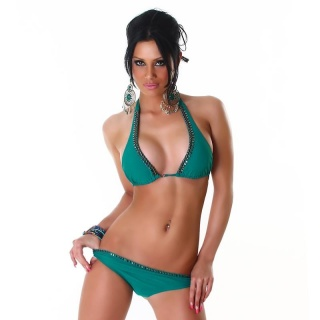 SEXY HALTERNECK BIKINI WITH PEARLS BEACHWEAR GREEN