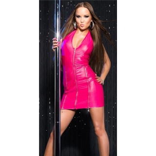 SEXY HALTERNECK CLUB DRESS IN WET LOOK WITH ZIPPERS GOGO FUCHSIA