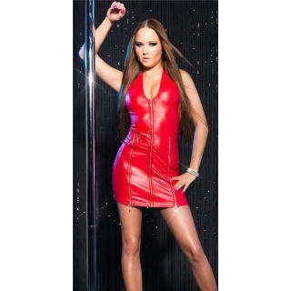 SEXY HALTERNECK CLUB DRESS IN WET LOOK WITH ZIPPERS GOGO RED