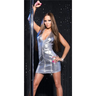 SEXY HALTERNECK CLUB DRESS IN WET LOOK WITH ZIPPERS GOGO SILVER