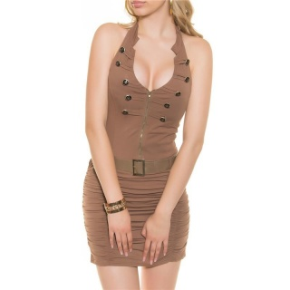 SEXY HALTERNECK MINI DRESS IN MILITARY-LOOK WITH BELT CAPPUCCINO