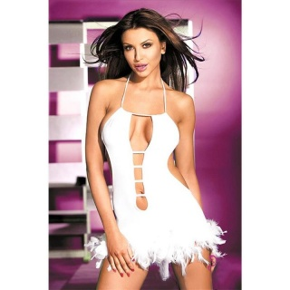 SEXY HALTERNECK MINIDRESS WITH PLUMES CLUBWEAR WHITE