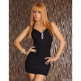 SEXY HALTERNECK MINIDRESS WITH RHINESTONES CLUBWEAR BLACK
