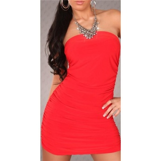 SEXY HALTERNECK MINI DRESS WITH RHINESTONE-CHAIN RED