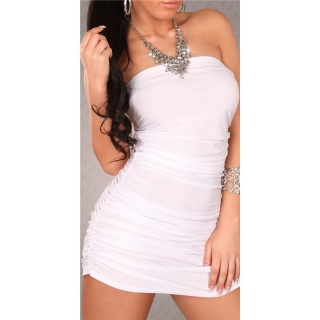 SEXY HALTERNECK MINI DRESS WITH RHINESTONE-CHAIN WHITE