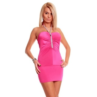 SEXY HALTERNECK MINI DRESS RHINESTONE-LOOK CLUBWEAR FUCHSIA