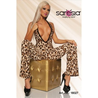 SEXY HALTERNECK OVERALL JUMPSUIT GOGO CLUBWEAR LEO-BROWN