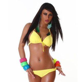 SEXY HALTERNECK PUSH-UP BIKINI WITH CORDS BEACHWEAR YELLOW